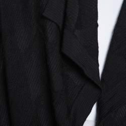 M Missoni Black Knit Waterfall Collar Open Front Cardigan L