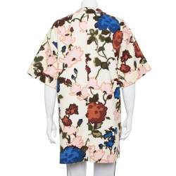 M Missoni Cream Watercolor Floral Printed Canvas Hook Front Long Jacket M