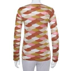 M Missoni Multicolor Scale Pattern Lurex Knit  Long Sleeve Top S