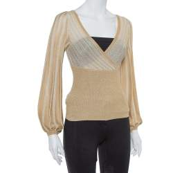 M Missoni Metallic Gold Perforated Knit Fitted Long Sleeve Top S