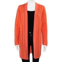 M Missoni Peach Chevron Paneled Wool Knit Open Front Cardigan XL
