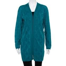 M Missoni Green Patterned Wool Open Front Cardigan L