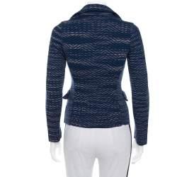 M Missoni Navy Blue Jacquard Knit Button Front Blazer S