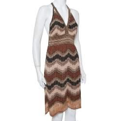 M Missoni Multicolor Lurex Knit Open Back Mini Dress L