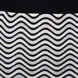 M Missoni Monochrome Wave Patterned Knit Maxi Skirt M