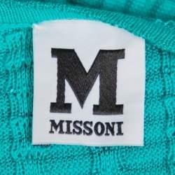 M Missoni Teal Green Knit Scoop Neck Skater Dress L