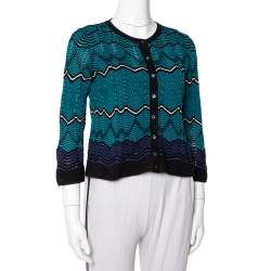M Missoni Multicolor Knit Button Front Crop Top S
