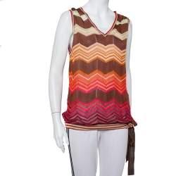 M Missoni Brown Chevron Patterned Knit Waist Tie Detail Top L