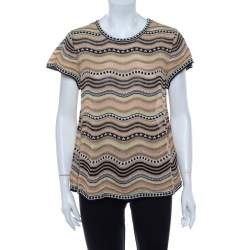 M Missoni Multicolor Wave Patterned Lurex Knit Top M