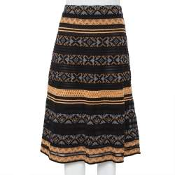 M Missoni Black Patterned Knit Knee Length Skirt M