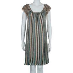 M Missoni Multicolor Lurex Knit Fringed Sleeve Dress S