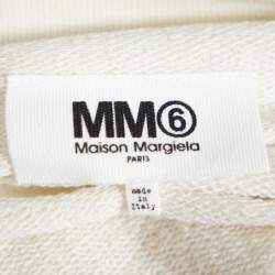 Maison Martin Margiela MM6 Off White Cotton Contrast Pleated Panel Detail Sweater Dress S