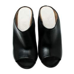 Maison Martin Margiela Black Leather Peep Toe Mules Size 39.5