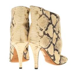Maison Margiela Beige Faux Python Leather Slouch Peep Toe Ankle Boots Size 35.5