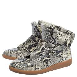 Maison Martin Margiela Grey Python Embossed Leather High Top Sneakers Size 39