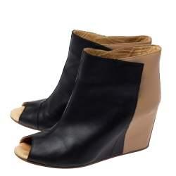 Maison Martin Margiela Black/Beige Leather Peep Toe Ankle Boots Size 39