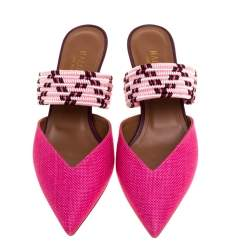Malone Souliers Pink Raffia Pointed Toe Mules Size 38.5
