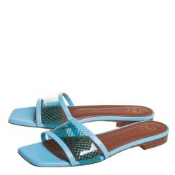 Malone Souliers Blue Leather And PVC Demi Flat Slides Size 37