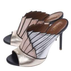 Malone Souliers Multicolor Metallic Leather Donna Open Toe Mules Size 37