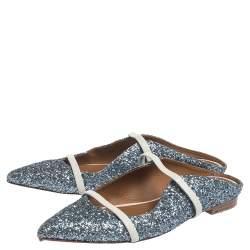 Malone Souliers Metallic Glitter Fabric Maureen Pointed Toe Flats Size 39.5