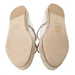 Malone Souliers White/Brown Leather Sienna Espadrille Mules Size 42