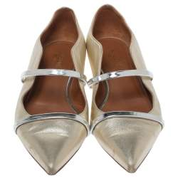 Malone Souliers Metallic Gold Leather Maureen Ballet Flats Size 38.5