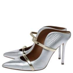 Malone Souliers Silver/Gold Leather Maureen Pointed Toe Mules Size 38.5