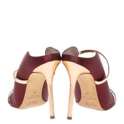 Malone Souliers Burgundy Satin Maureen Pointed Toe Mules Size 38