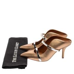 Malone Souliers Metallic Brown Leather Maureen Mules Size 35