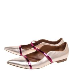Malone Souliers Metallic Rose Gold Leather Maureen Pointed Toe Ballet Flats Size 41