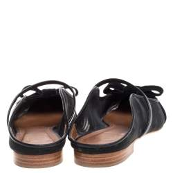 Malone Souliers By Roy Luwolt Black Mesh And Velvet Marguerite Bow Flat Mules Size 37.5