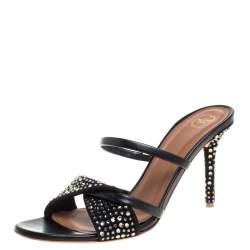 Malone Souliers Black Leather and Suede Tasham Crystal Embellished Slide Sandals Size 38
