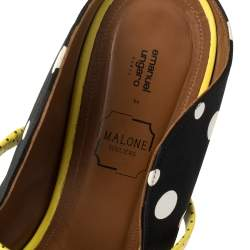 Malone Souliers Black Polka Dots Nylon and Leather Trim Maureen Pointed Toe Mules Size 40.5