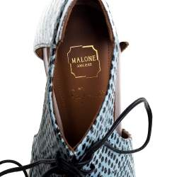 Malone Souliers Tri Color Snakeskin Embossed Leather Lace Up Montana Booties Size 38.5