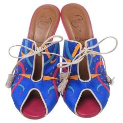 Malone Souliers Blue Satin Embroidered Peep Toe Lace Up Slide Mules Size 36