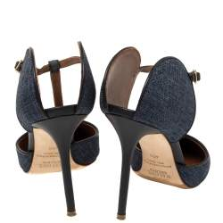 Malone Souliers Blue Denim Fabric And Leather Trim Pointed Toe T Strap Mule Sandals Size 40.5