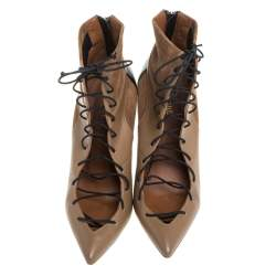 Malone Souliers Brown Suede and Leather Montana Lace Up Ankle Boots Size 40