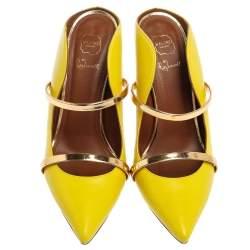 Malone Souliers Yellow Leather Maureen Mules Size 38