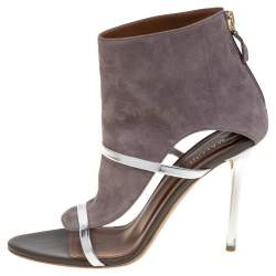 Malone Souliers Grey Suede And Leather Miley Cutout Sandals Size 38
