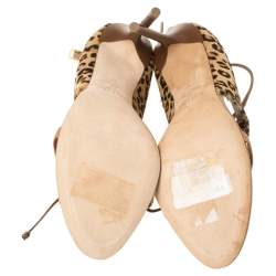 Malone Souliers Beige Calf Hair And Leather Trim Johana Ankle Strap Sandals Size 41