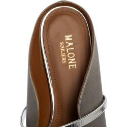 Malone Souliers Grey Satin Maureen Pointed Toe Mule Flats Size 39