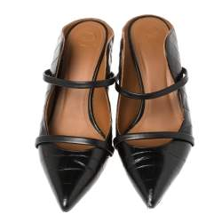 Malone Souliers Black Croc Embossed Leather Maureen Pointed Toe Mules Size 39