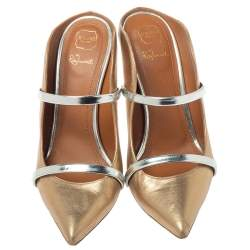 Malone Souliers Metallic Bronze/Silver Leather Maureen Pointed Toe Mules Size 37.5