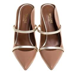 Malone Souliers Beige/Gold Leather Maureen Mules Size 38.5