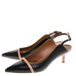Malone Souliers Black/Beige Leather Marion Pointed Toe Slingback Sandals Size 40