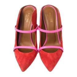 Malone Souliers Red/Pink Suede and Leather Maureen Mules Size 38.5