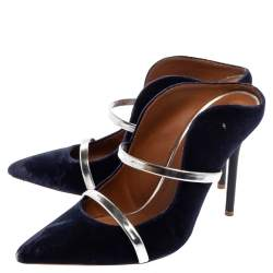 Malone Souliers Blue Velvet Maureen Pointed Toe Mules Size 38