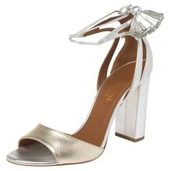 Malone Souliers Metallic Silver/Gold Leather Gladys Tassel Sandals Size 37.5