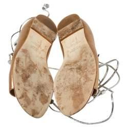 Malone Souliers Metallic Beige Leather Savannah Ankle Wrap Flats Size 39