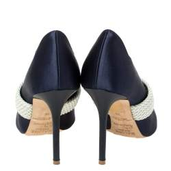Malone Souliers By Roy Luwolt Navy Blue Satin Maisie Pointed Toe Pumps Size 36